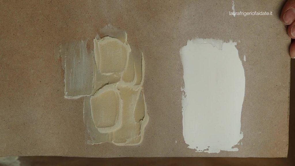 i due stucchi dopo l'asciugatura e la carteggiatura