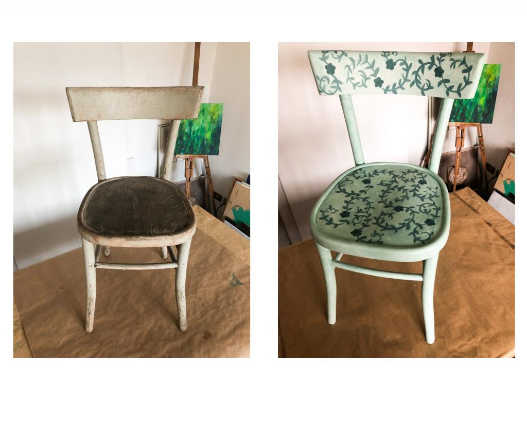 restyling sedia cenerentola prima e dopo